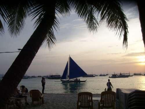 Sunset Sailboat Boracay Island Philippines