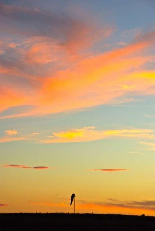 Sunset Sky Sun Orange Yellow Beautiful Idyll