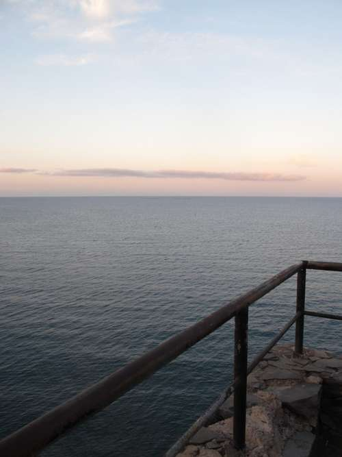 Sunset Handrail Blue Red Sky