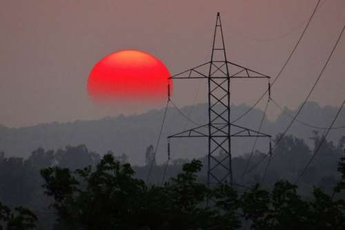 Sunset Electric Pylon Electric Tower Mountains