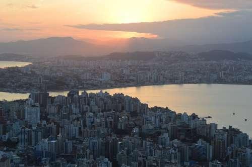 Sunset Brazil City Landscape Buildings