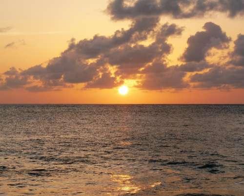 Sunset Golden Caribbean Vacation Holiday Ocean