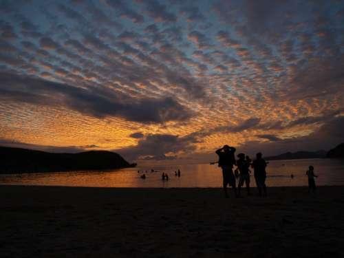 Sunset Beach Clouds Twilight Marin Sand Evening