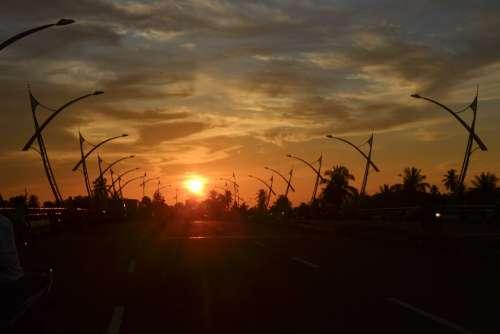 Sunset Clouds Sky Street Bridge