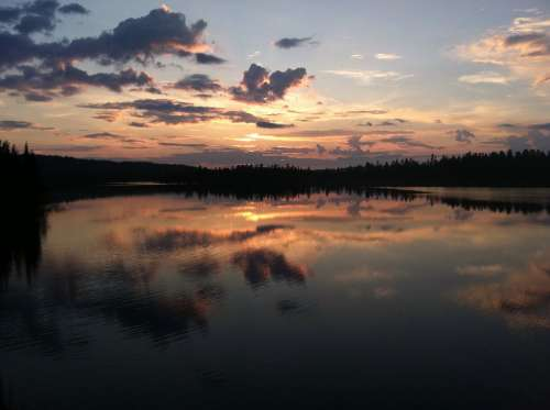 Sunset Finland Lake Sky Reflection Beautiful