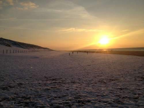 Sunset Dutch Beach The Netherlands Snow