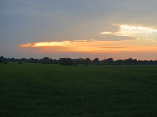 Sunset Pasture Evening Vista Holland