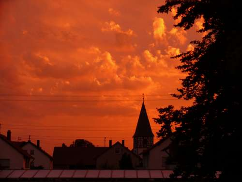 Sunset Red Sky Clouds Orange Mood Evening