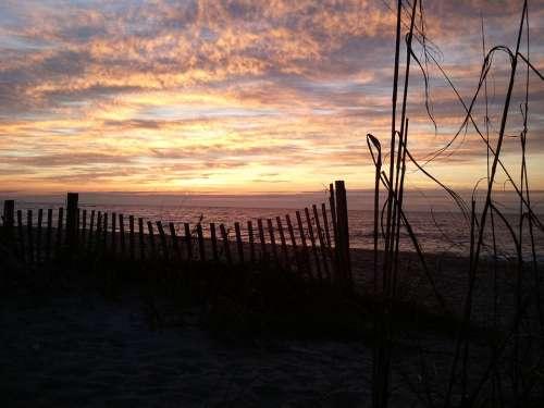 Sunset Beach Fence Night Romantic Peaceful Beauty