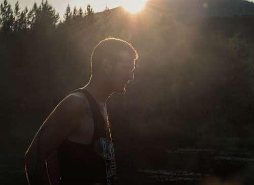 Sunset Man Young Lake Summer Vacation Nature