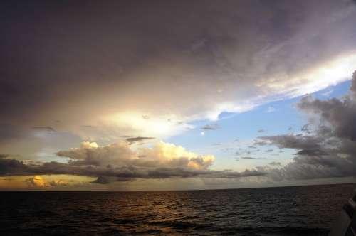 Sunset Sea Forward Clouds Rain Caribbean