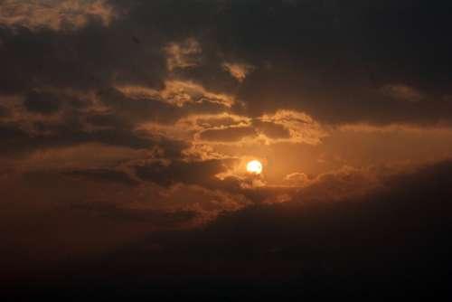 Sunset Serene Clouds Twilight Dusk Dawn Orange