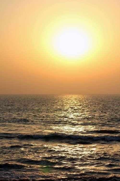 Sunset Sea Waves Ocean Dusk Dawn Twilight Calm