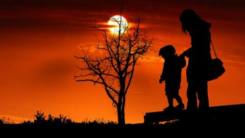 Sunset Child Mother Game Nature Happy People