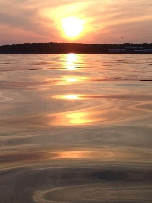 Sunset Lake Water Orange Reflection Nature Sky