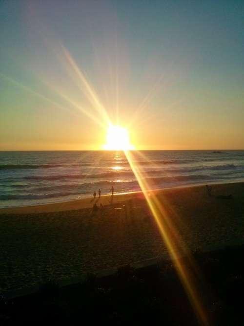 Sunset Scenery Chile Beach Ocean People