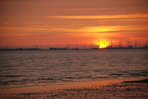 Sunset Afterglow Beach Coast Emden Knock