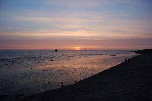 Sunset Afterglow Emden Knock Coast