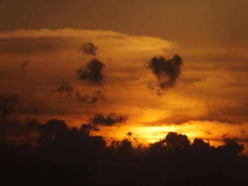 Sunset Sun Evening Summer Sky Clouds Orange