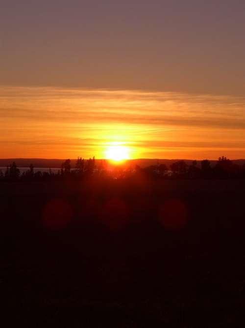 Sunset Nova Scotia Canada Dusk Sun Sky Landscape