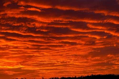 Sunset Sky Red Orange Grey Clouds Firey Horizon