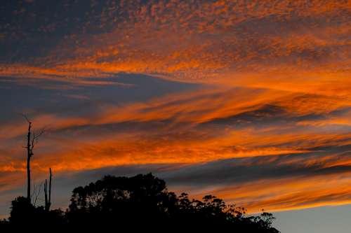 Sunset Sky Clouds Orange Grey Australia Horizon