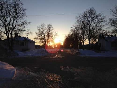 Sunset Street Snow City Winnipeg Frozen