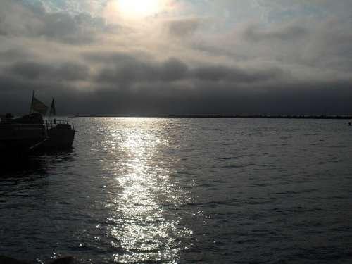 Sunset Walvis Bay Bay Sea Ocean Water Sun Clouds