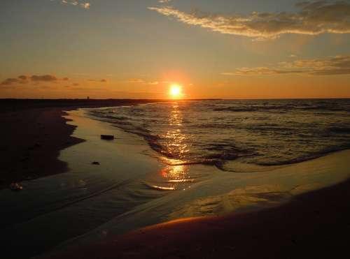 Sunset Sea Sunlight Abendstimmung Atmospheric