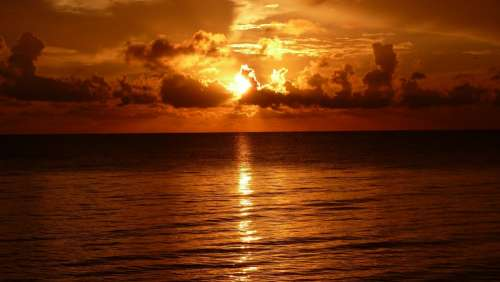 Sunset Ocean Sea Dramatic Sun Sky Nature Beach