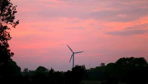Sunset Himmel Cloud Horizon Windmill