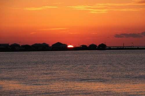 Sunset Grand Isle Louisiana Fishing Town Huts