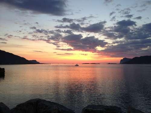 Sunset Fosnavåg Norway Sea Fishing Boat Light
