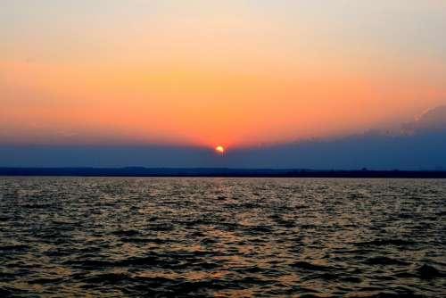 Sunset Sunlight Lake Water Sun Summer Nature
