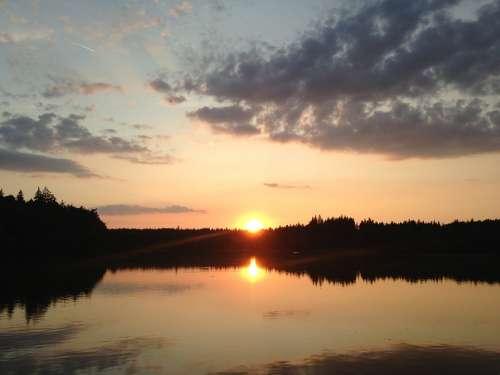 Sunset Pond Summer Sunset