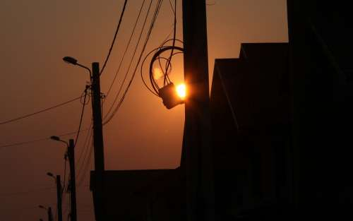Sunset Orange Sky Silhouette Wire Dark Sun Sunset