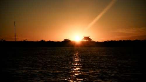 Sunset Sea Ocean Ocher Mexico Los Cabos