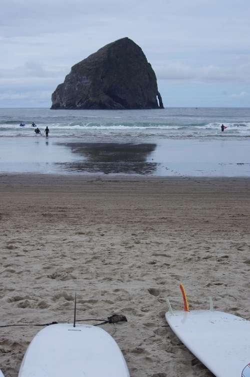 Surf Surfboard Rock Scenic Landscape Seascape