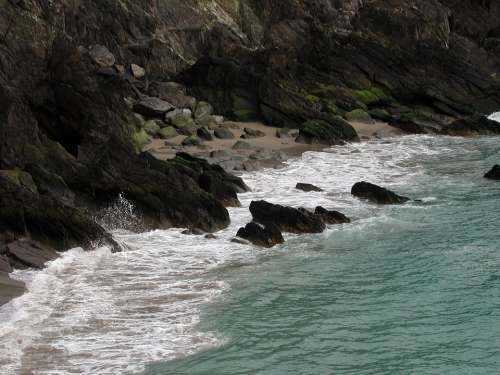 Surf Rocky Sea Coast Ocean Cliff Coastal