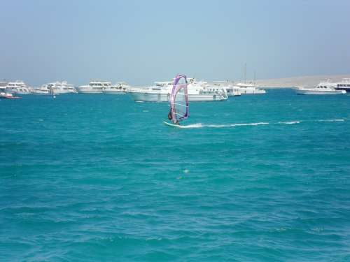 Surfer Water Sports Yachts Sea Beach Egypt