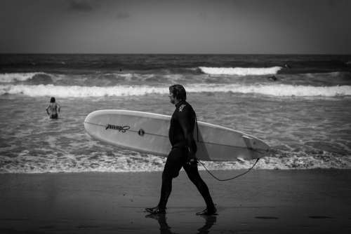 Surfer Surf Surfboard Waves Black And White