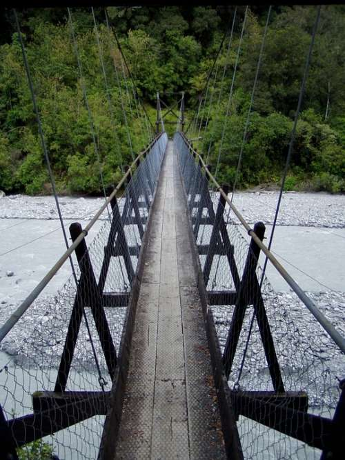 Suspension Bridge Bridge River Risk Narrow Cross
