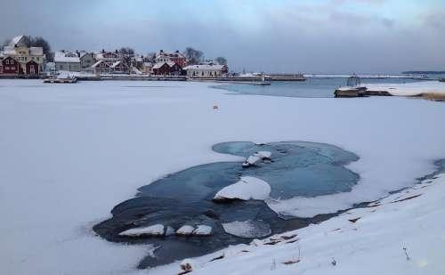 Sweden Winter Blue Cold Öregrund Coastal Snowy