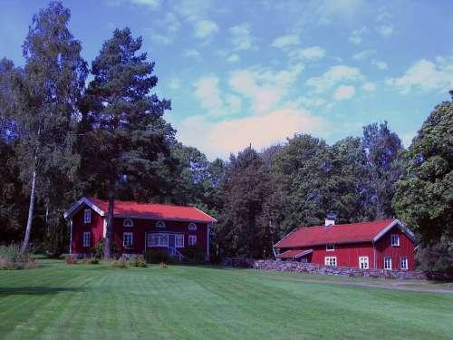 Sweden Landscape House Barn Sky Clouds Home Farm
