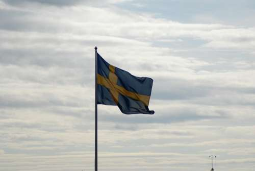 Swedish Flag Cloudy Sky Summer Symbol Flag Wind