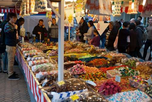 Sweet Stall Street Market Colourful Assorted