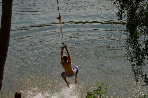 Swim Romp Paddling Lake Summer Wet Rope Swing