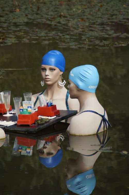 Swim Swimmers Water Pond Lake Swim Cap Women