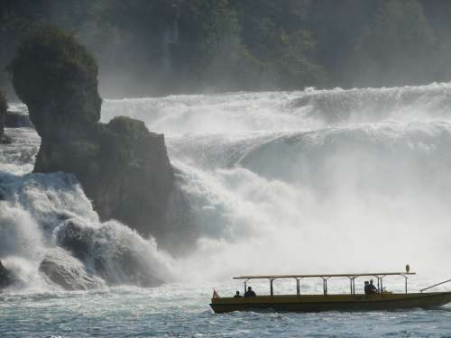 Switzerland Summer Water Waterfall Boat