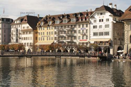 Switzerland Lucerne Bridge Lake